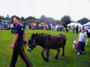 Craig showing Larry the Donkey for Most Obedient Large Animal